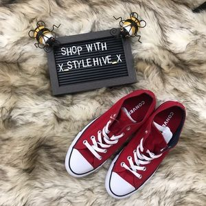 Converse all star red double tongue low top
